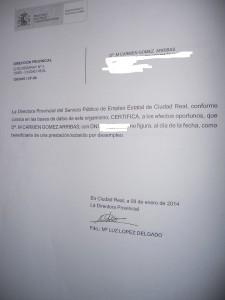 Certificado no ayuda Carmen