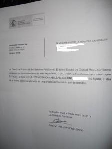 Certificado no ayuda Vicente